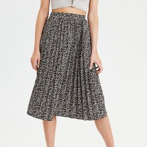 Floral High-Waisted Pleated Midi Skirt